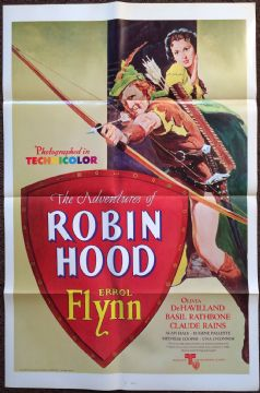 Adventures of Robin Hood, original US film poster, Errol Flynn, De Havilland, R76